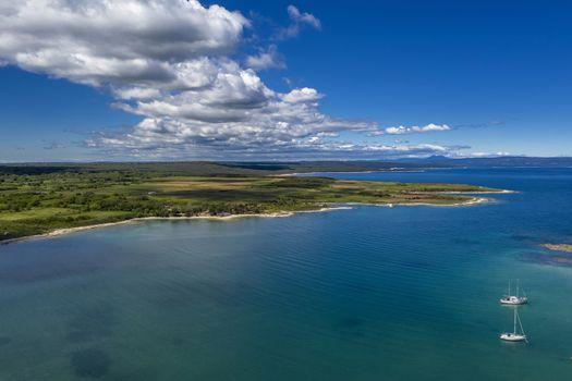 An aerial shot of Kuje lagoon in Liznjan, Croatia