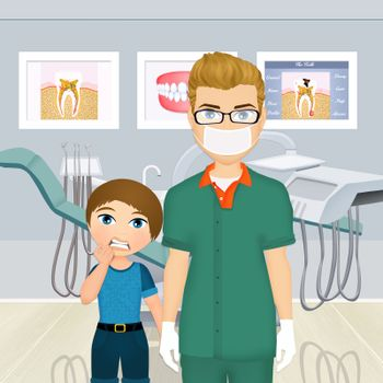 illustration of child with the fear of the dentist