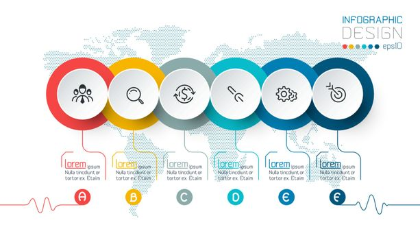 Business circle labels shape infographic groups bar.