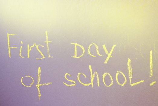 First day at school writing on the Board.