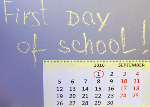 First day at school writing on the Board, calendar.
