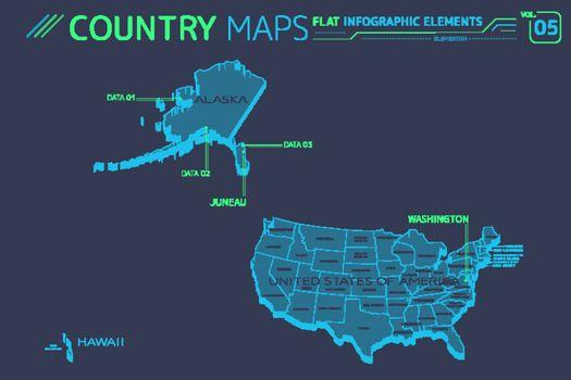 United States of America, Alaska, Hawaii Vector Maps