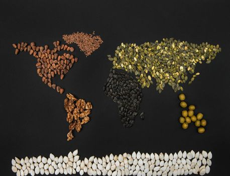 World map from different seed: walnut, olives, flaxseed, pumpkin seed on black background