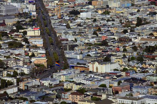 Top view with twin peaks on San Francisco