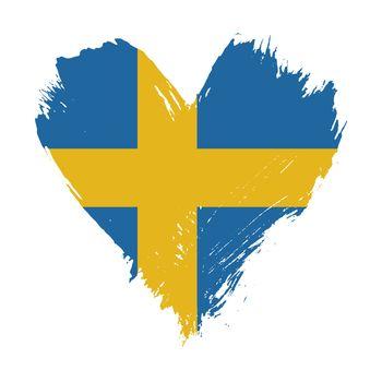 Brushstroke painted flag of Sweden