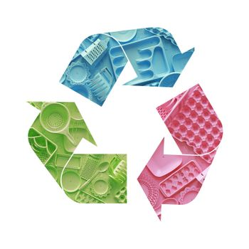 Illustration recycling symbol of plastic tableware