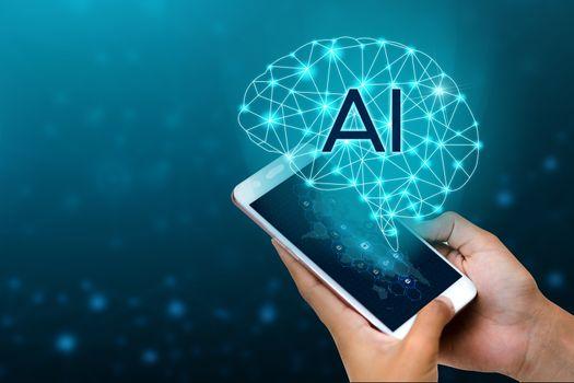 AI Hand Businesspeople press the phone. Brain Graphic Binary Blue Technolog