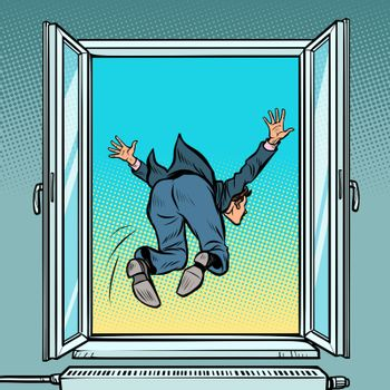 Bankruptcy and financial crisis. Suicide businessman jumps out the window. Comic cartoon pop art retro illustration drawing