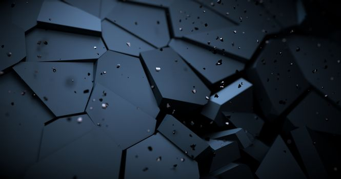 Abstract background with broken elements. Cracked surface. Bursting with debris and bokeh. 3D render