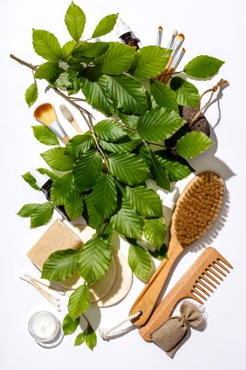 Zero waste, eco friendly cosmetic products and bathroom accessor