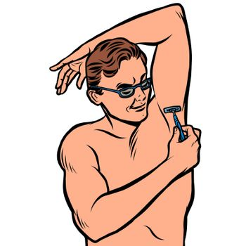 a man shaves his armpit with a razor. isolate on white background