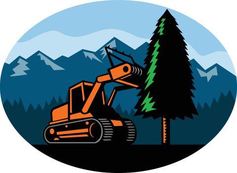Forestry Mulcher Tearing Tree Oval Retro