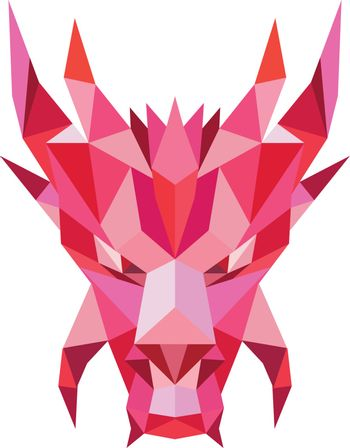 Dragon Head Front Low Polygon Style