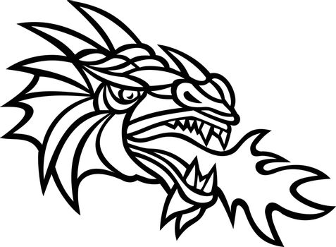 Mythical Dragon Breathing Fire Mascot