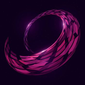 Abstract futuristic glowing violet gemetric torus shape twisted in a spiral on the dark blue starfield background