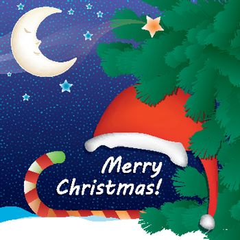 Merry Christmas card with a snowy night background, sleeping cartoon moon, Santa Claus hat, sweet candy in red decorative ribbon and green pine tree branches