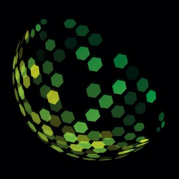Abstract futuristic green half sphere made of six-sided polygons. Disco ball with semi-transparent pieces