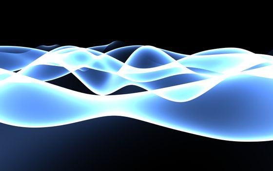 Smooth glowing blue plasma wave abstract background. 3D illustration