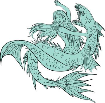 Mermaid Grappling With Sea Serpent Drawing Color