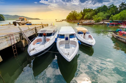 travel Speed Boat port thailand shipping location Tourist boat to island in Thailand In the bright blue days