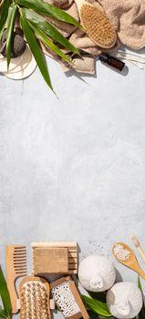 Zero waste, eco friendly bathroom accessories on concrete backgr
