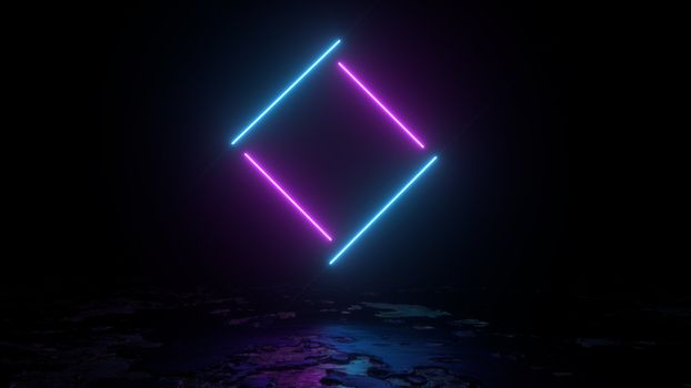 3d abstract background render, pink and blue neon lights lines fly over the ground, retrowave and synthwave illustration. Futuritic concept