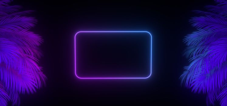 3d render of neon palm leaves and frame on the black. Banner design. Retrowave, synthwave, vaporwave illustration. Party and sales concept