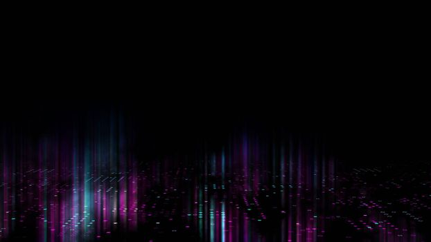 3d abstract art background render, circles and dots on the black, retrowave and synthwave illustration. Futuristic technical concept