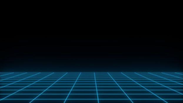 3D render synthwave wireframe net abstract background. Future retro line grid illustration. Vaporwave concept