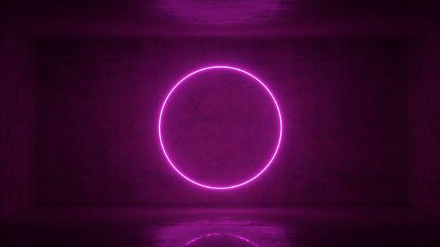 3d render of neon circle frame on background in the room. Banner design. Retrowave, synthwave, vaporwave illustration. Party and sales concept