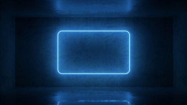 3d render of neon frame on background in the room. Banner design. Retrowave, synthwave, vaporwave illustration. Party and sales concept