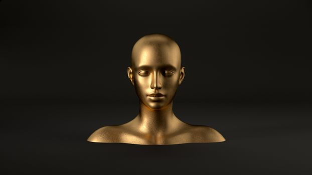 3d render of abstract mannequin female head on black background. Fashion woman.