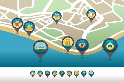 Beach entertainment pin map icon located on map
