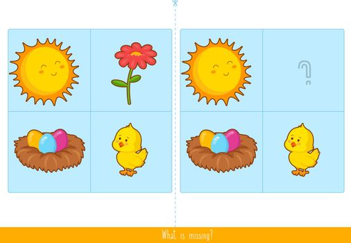 Memory Game for Kids. Educational children game, vector.
