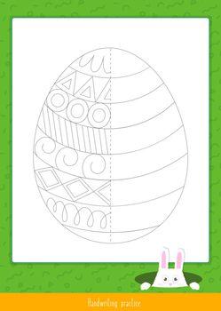 Handwriting practice. Basic writing skills early education. Educational children game. Vector illustration