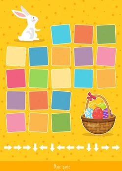Educational children game, vector. Logic game for kids. Easter maze game.