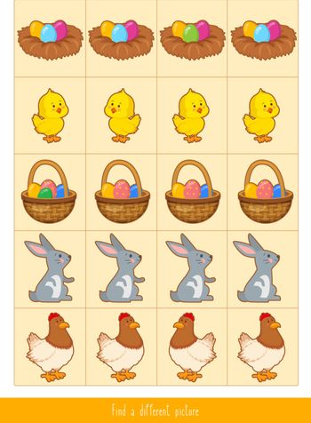 Educational children game, vector. Logic game for kids. Find differences