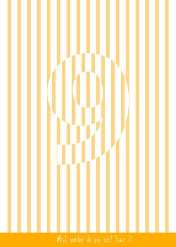Educational children game. Optical illusions. Find the hidden number