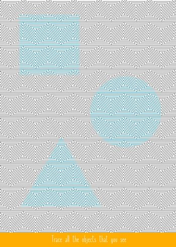 Educational children game. Optical illusions. Find the hidden shape