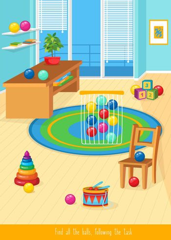Educational children game. Prepositions of place for preschool