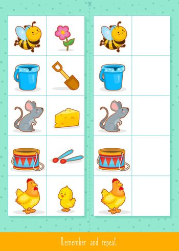 Educational children game, vector. Logic game for kids. Memory game