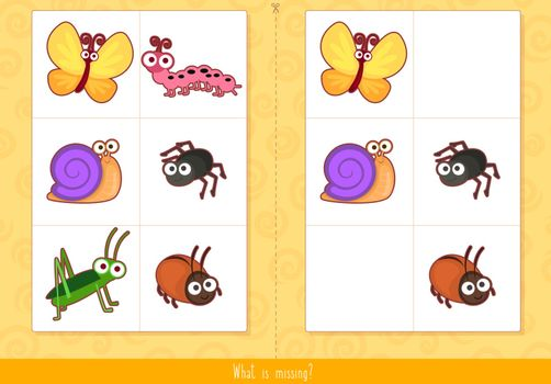 Educational children game, vector. Memory game for kids. What's missing