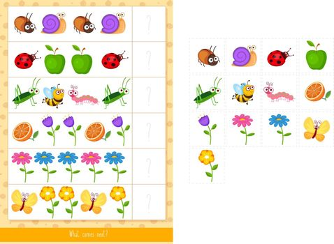 Educational children game, vector illustration. Logic game. What comes next