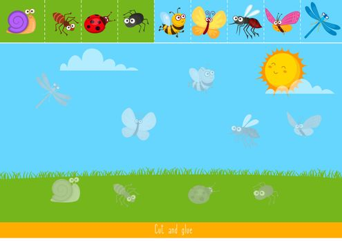 Educational children game, vector illustration. Cut and glue