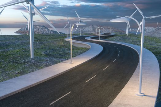 Windmills and winding road in the open, 3d rendering. Computer digital background.