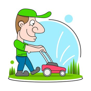 Illustration Of A Gardener Wearing Hat And Overalls With Lawnmower Mowing Lawn Viewed From Front Set On Isolated In Cartoon Style.