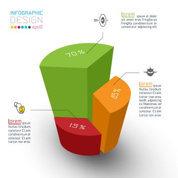 Colorful isometric cylinders of infographics.