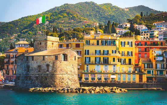 retro italian castle seaside vintage travel background Castello di Rapallo italian riviera - Italy .