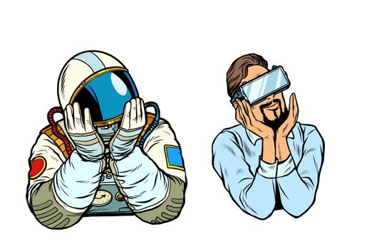 set thinker dreamer man, astronaut and man in vr glasses