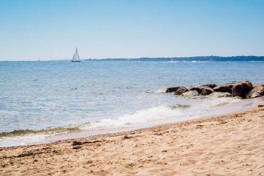 The overlooking view of the shore in Massachusetts at Cape Cod Beach